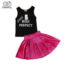 f554f22018385 1-6Year إلكتروني ملابس الأطفال الملابس 2018 جميل كيد فتاة أكمام الصدرية +  المخملية روز الأحمر تنورة الزي الصيف الأطفال رياضية