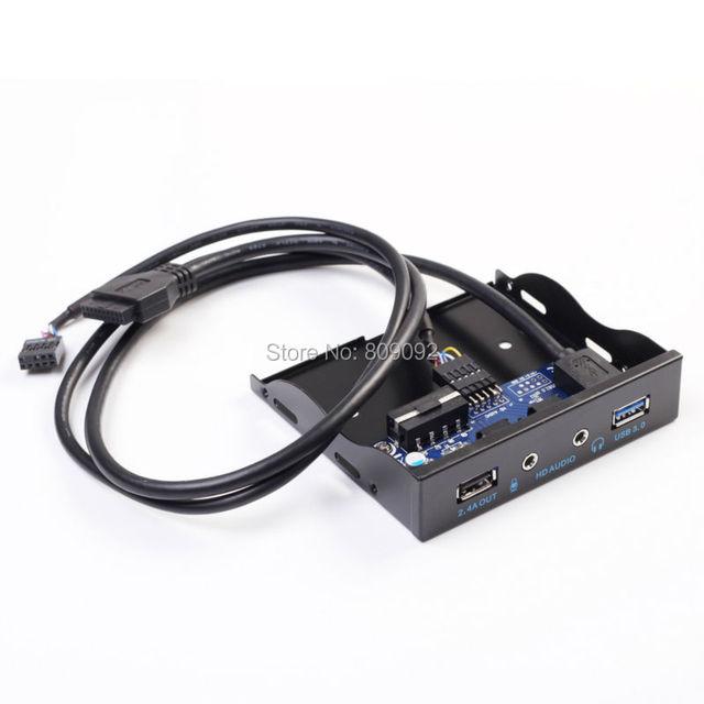 "3.5 "" USB 3.0 Hub de carga 2.4A + HD áudio Mic conector de painel suporte"