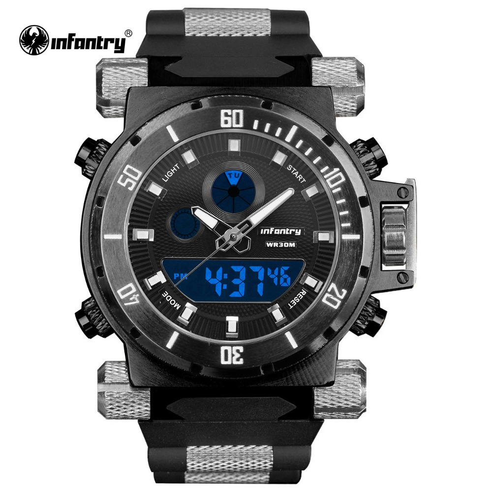 INFANTRY Military Watch Men Digital LED Wristwatch Mens Watches Top Brand Luxury Big Army Sport Black Silicone Relogio Masculino|masculino|masculinos relogios|masculino watch - title=
