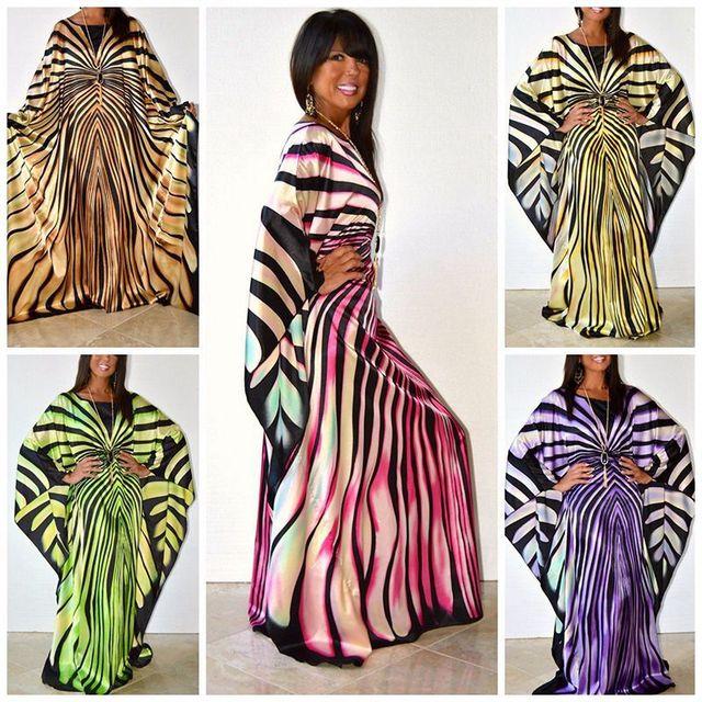 H & D فساتين الأفريقية للنساء dashiki الملابس زيبرا شريط فستان كاجوال فام حجم الحرة فساتين ماكسي رداء الأفريقية سيدة vetsido