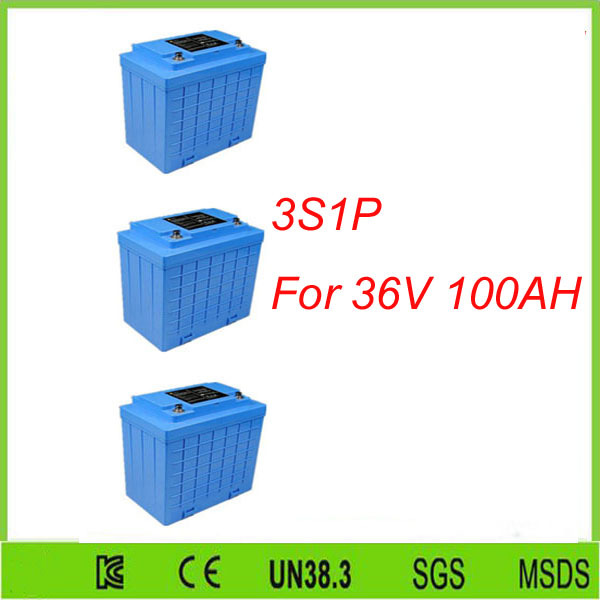 Free shipping 3Pcs 3S1P  lithium-ion lifepo4 12v 100ah solar energy storage battery pack For 36V 100AH lifepo4 battery pack