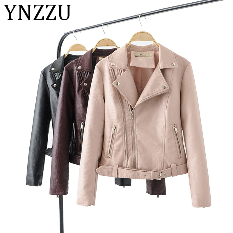 YNZZU PU Faux   Leather   Jacket Women High Quality Basic Jackets Zipper 2019 Autumn Winter Biker Jacket Female with Belt A1007