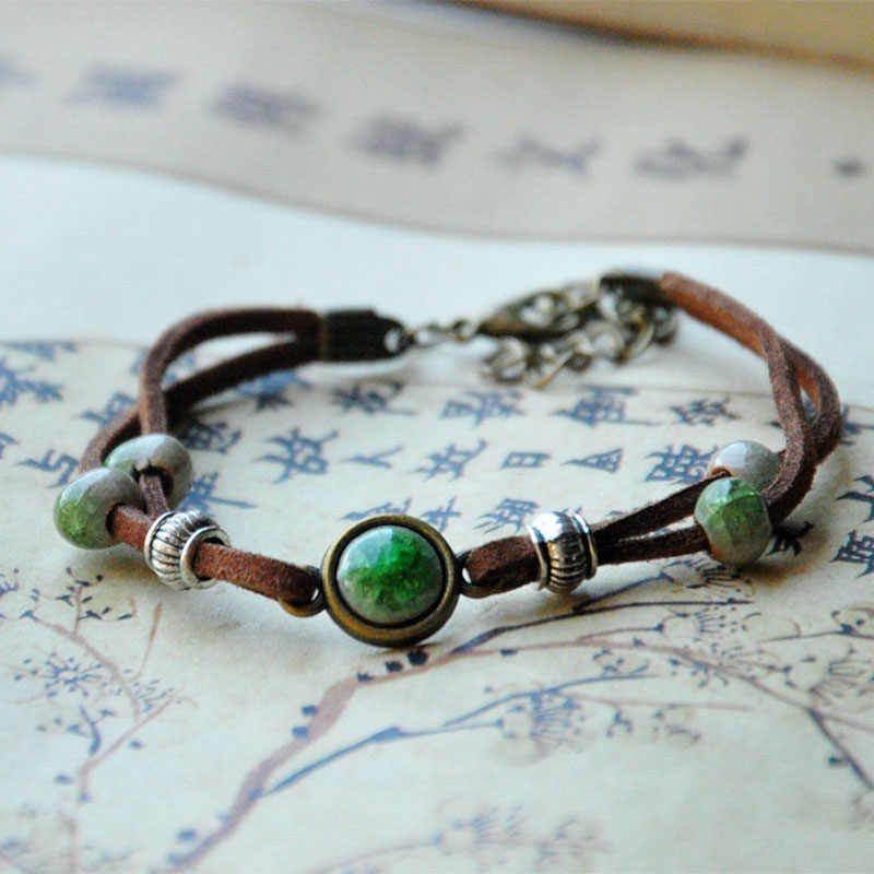 Ceramic Beads Bracelet Women Men Silver Color Charm Leather Chain Cuff Bangle Adjustable Wristbands Bohemian Jewelry Accessories