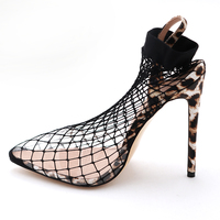 Comfortable and cool Spotted leopard heel Stockings shoes snake net clear Pointed transparent slip on high heel shoe and bag set