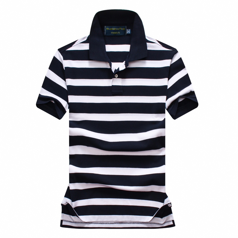 Men s striped polo shirt brand men s short sleeved casual slim pure color turtleneck pure
