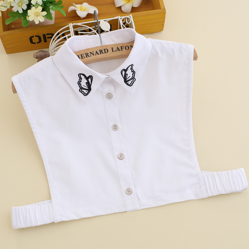 Casual White Shirt Detachable Collars Women All-Macth Embroidery Butterfly Detachable Collar Apparel Accessories