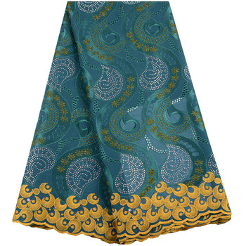 African Cotton Voile Lace Fabric 2019 High Quality Swiss Voile Lace In Switzerland Teal Color Dry Lace For Women Dress S1487