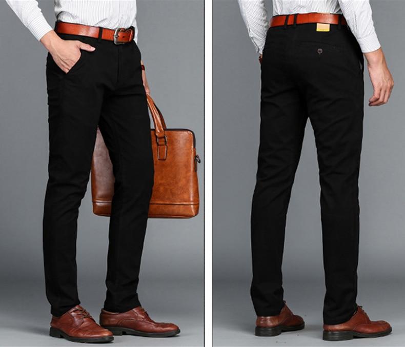 HTB1Y5fMaOMnBKNjSZFzq6A qVXa0 VOMINT Mens Pants High Quality Cotton Casual Pants Stretch male trousers man long Straight 4 color Plus size pant suit 42 44 46