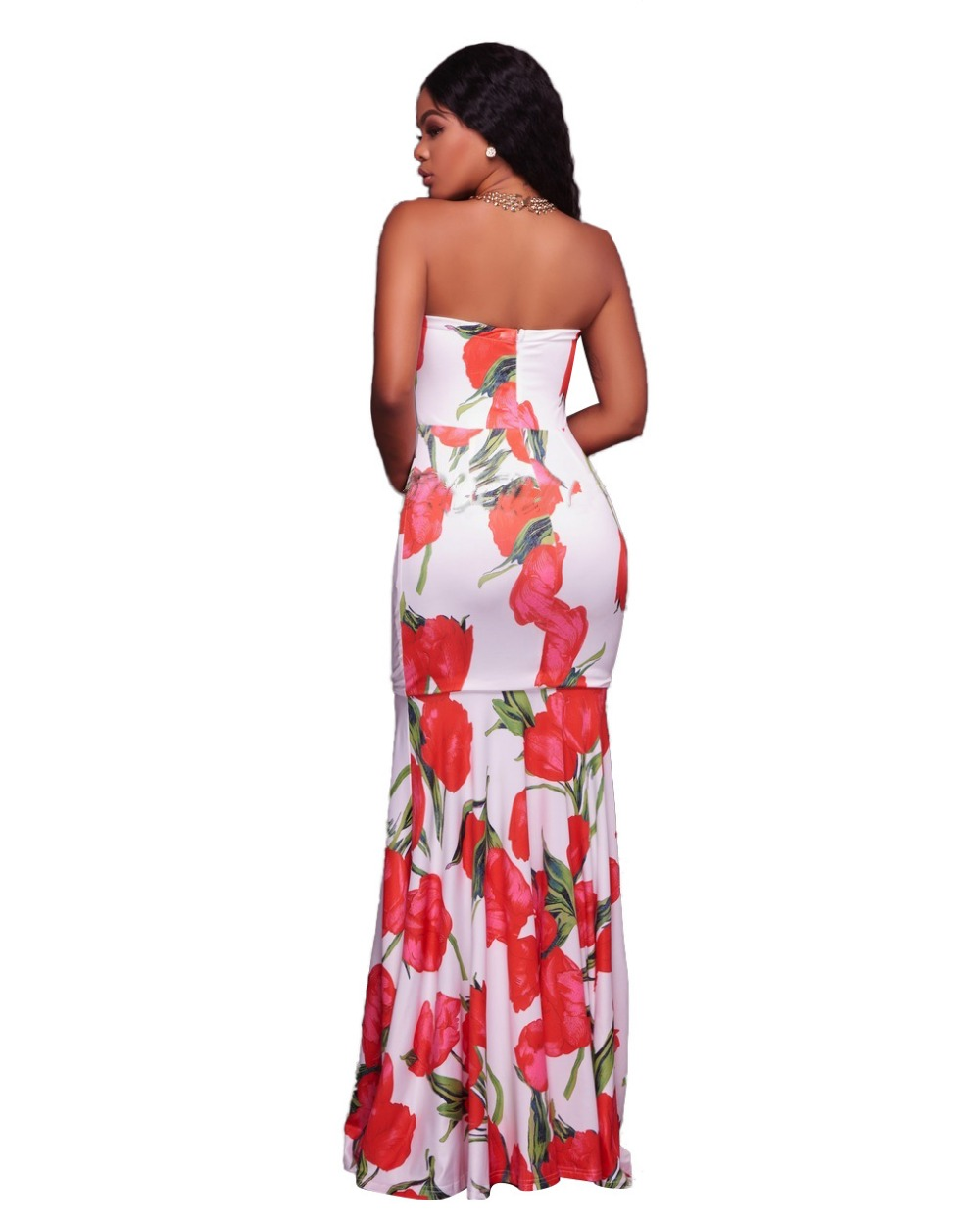 5da970d67c US $21.34 40% OFF|formal dress women 2017 summer dresses casual cotton  straight natural flower print dress party strapless vestidos-in Dresses  from ...