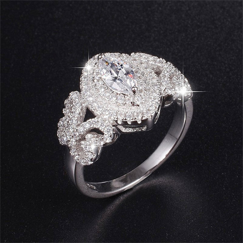 Hot Sale Real 925 Sterling Silver Wedding Ring Finger Luxury Marquise Cut SONA diamond Jewelry For Women Engagement Rings Anel