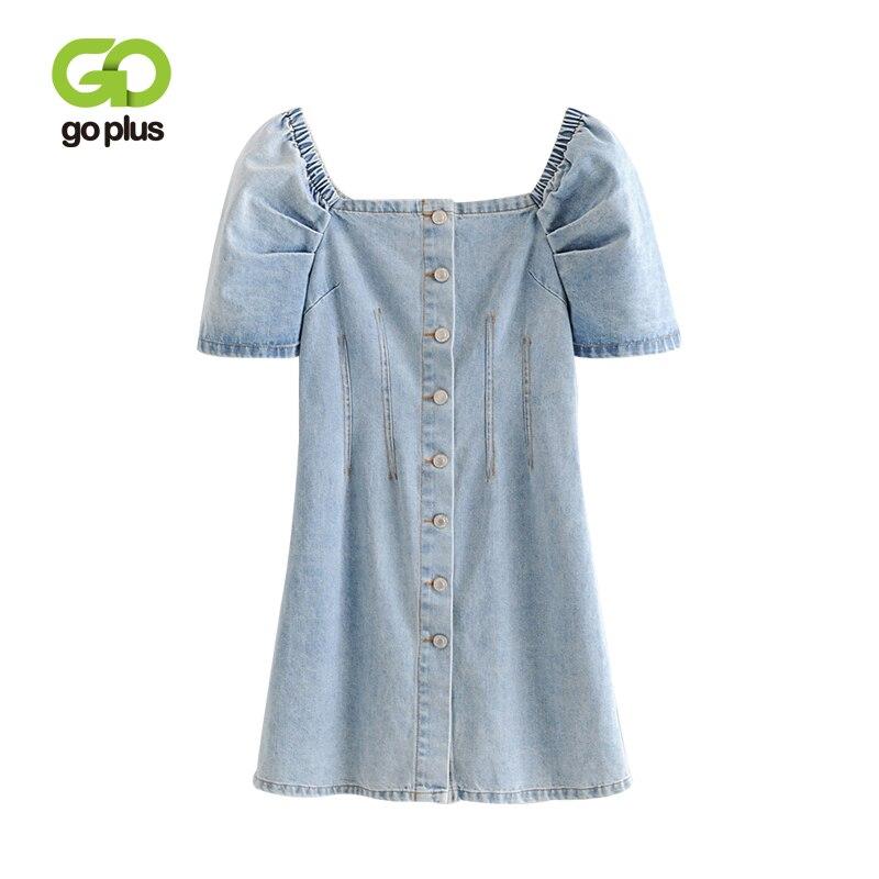 GOPLUS printemps été mode taille haute Denim robe col carré manches bouffantes simple boutonnage femmes Slim Jeans Mini robes C8973