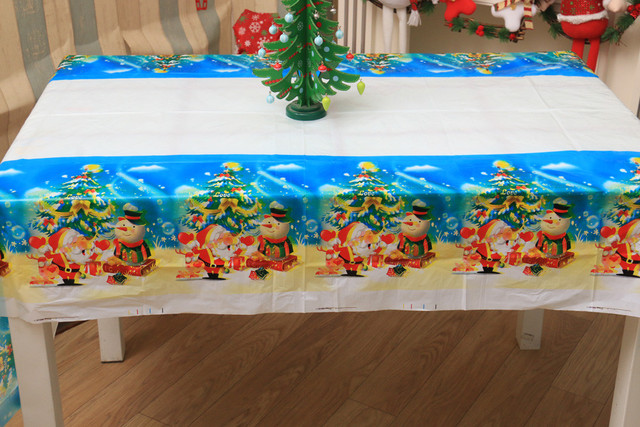 Merveilleux Merry Christmas Tablecloth Disposable Printed Cartoon Santa Claus Tablewaer  Fancy Plastic Picnic Mats Tablecloth Home Decor