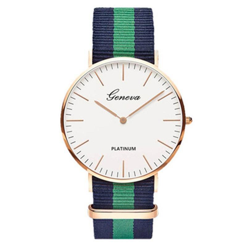 Fashion Men Women Unisex Geneva Platinum Nylon Fabric Watch Sport Thin Wrist Canvas Quartz Dress Wrist Watches For Men Women