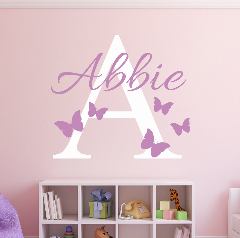 Custom Name Initial Butterflies Wall Decal Girls Name Personalized
