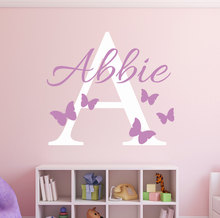 цена на Custom Name Initial Butterflies Wall Decal Girls Name Personalized Decal - Baby Nursery Room Decor vinyl Art Wall Sticker W-7