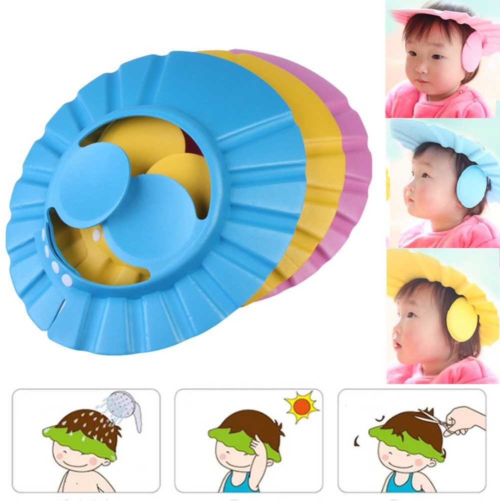 Shampoo Cap Adjustable Baby Kids EVA Foam Shampoo Cap Bath Shower Cap Wash Hair Ear Shield Blue, Yellow, Pink