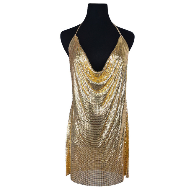Three Colors Metal Mesh Body Chain Dress Sequins Body Chain Bra