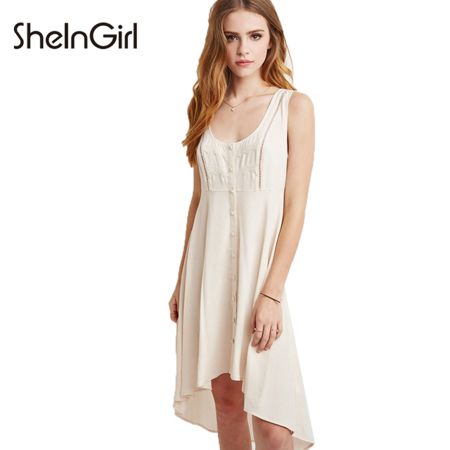 b3a649e5669 SheInGirl White Dress Women High Low Single Breasted Lace Contrast  Sleeveless Bodycon Midi Dress Ladies Cute Casual Summer Dress