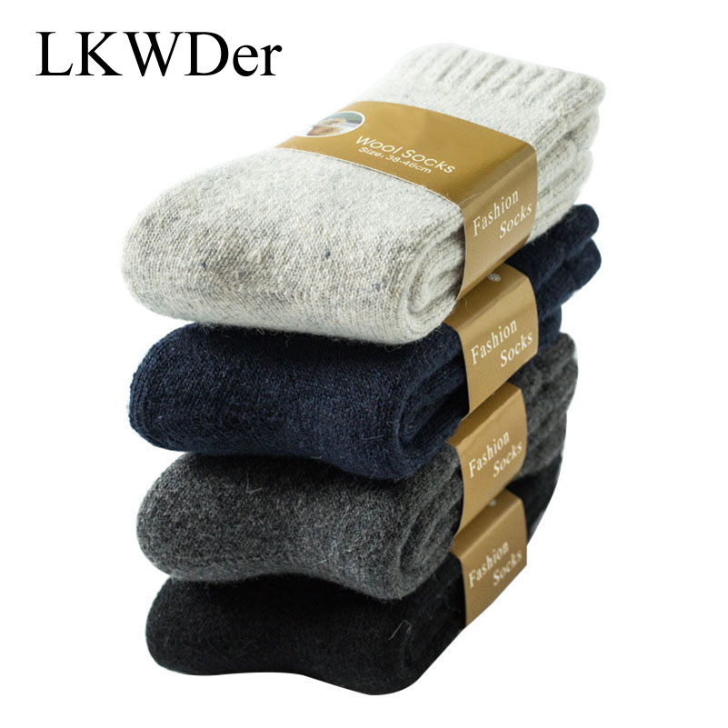 LKWDer 3 Pairs Men's Wool Socks Winter Super Thick Warm Solid Color Black Woolen Thermal Male Casual Sleep Socks Men Calcetines