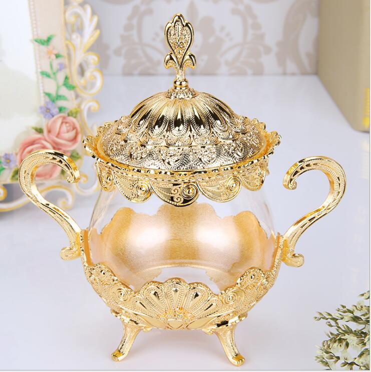 Pots et couvercles en verre plaqué or/argent européen récipient en verre sucrier thé café pots de stockage de sucre SNG001