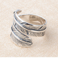Fashion Japanese Style Men S GO Feather Eagle Overall Sterling Silver Open End Ring Free Shipping