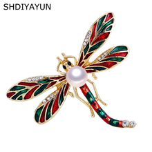 SHDIYAYUN 2019 New Pearl Brooch Enamel Dragonfly For Women Vintage Gold Pins Natural Freshwater Jewelry Gift