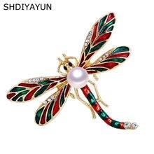 Женская Винтажная брошь в форме стрекозы shdiyayun из натурального