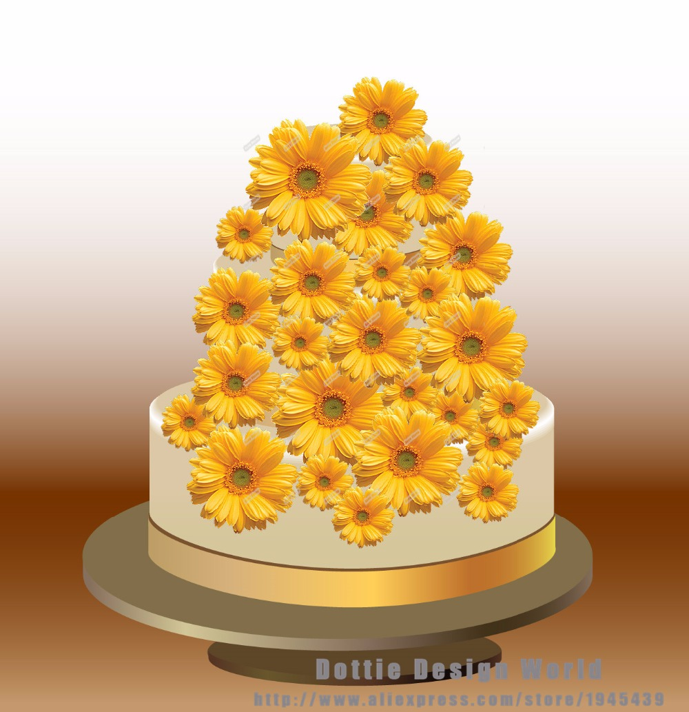 25 Mixed Yellow Daisy Edible cake topper wafer rice paper ...