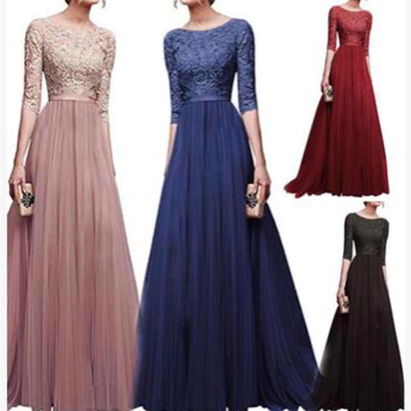 2019 New elegant half sleeve chiffon lace stitching floor-length women party prom evening red long dress female clothing clothes