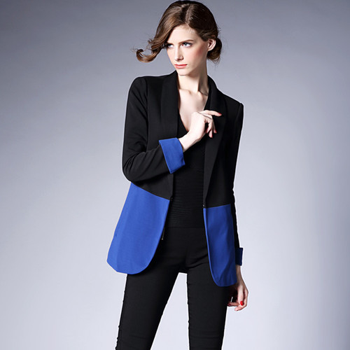 J43644 2018 Autumn Fashion Black Blue Patchwork Women Blazer Office Suit Workwear