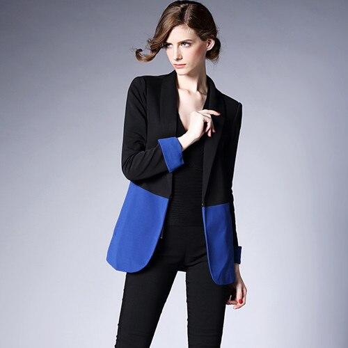 J43644 2018 Autumn Fashion Black Blue Patchwork Women Blazer Office Suit Workwear