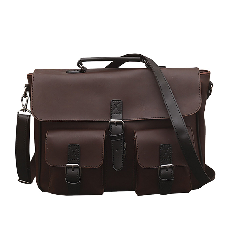 Brief Men's Handbag Business Crossbody Shoulder Bags Male Briefcase Vintage Crazy Horse Leather Men Casual Messenger Bag vintage crossbody bag military canvas shoulder bags men messenger bag men casual handbag tote business briefcase for computer