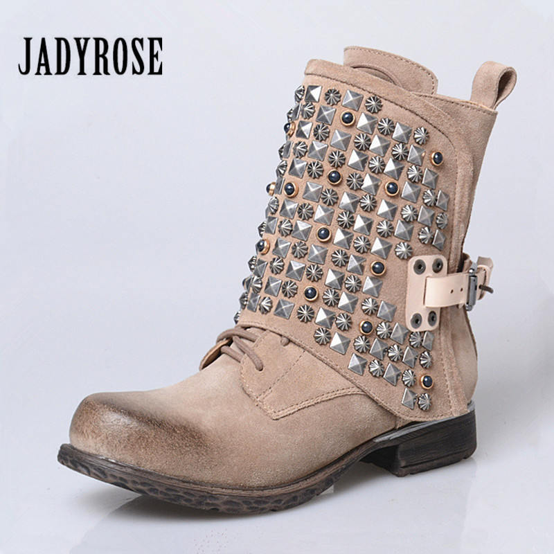 Jady Rose Punk Style Women Ankle Boots Suede Rivets Studded Riding Boots British Buckle High Boot Platform Flat Rubber BotasJady Rose Punk Style Women Ankle Boots Suede Rivets Studded Riding Boots British Buckle High Boot Platform Flat Rubber Botas
