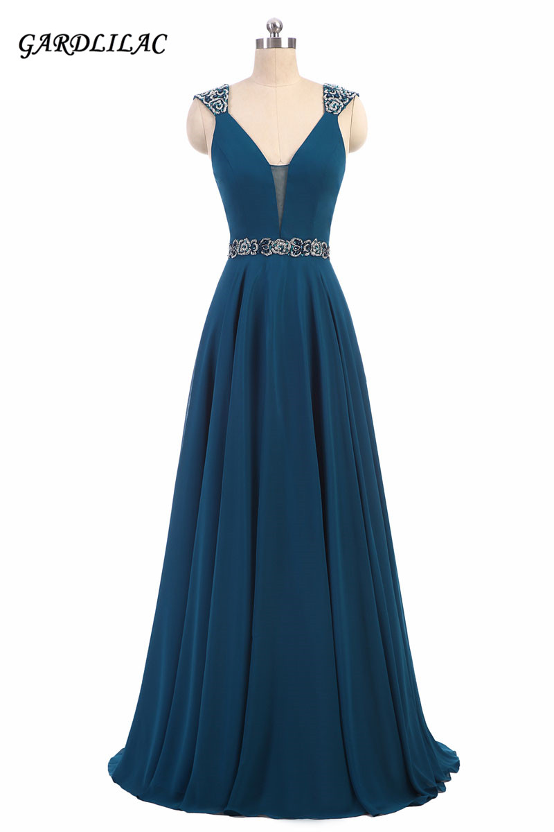 Navy Chiffon Evening Prom Dresses 2019 V-neck Beaded Crystals Sash A Line Backless Simple Long Party Gowns