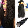 Indian Virgin Hair Deep Wave 3 Bundles With Closure 8A Grade Unprocessed Human Hair With Closure Indian Deep Wave Virgin Hair