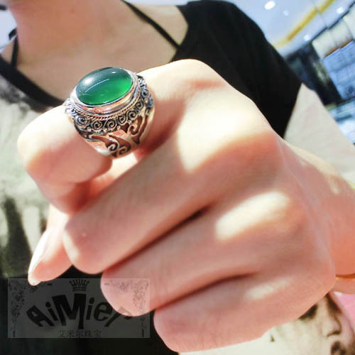 925 pure silver thai silver vintage green fashion ring cutout carved ring цена