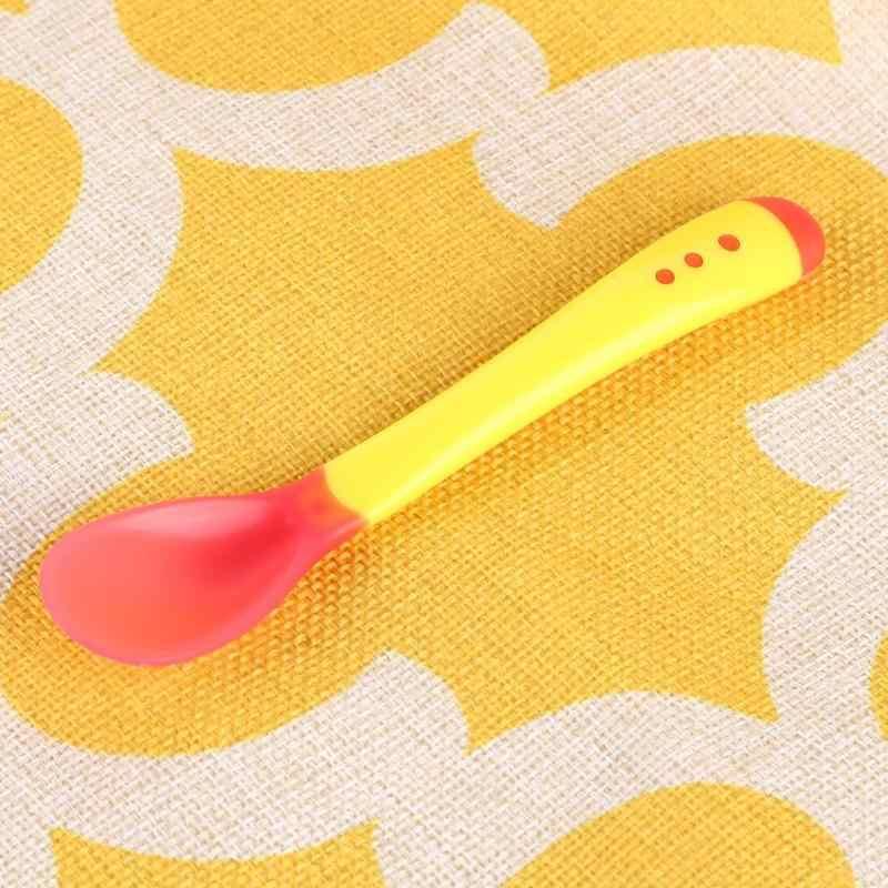 ชามเด็กลื่นส้อมช้อนทารก Sensing อุณหภูมิ Sucker ชามส้อมช้อนทารก Feeding