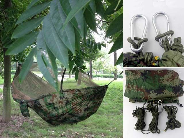 Freeshipping Portable Sleeping hanging Bed Hammock w/ Bug Mosquito Net Outdoor Travel Camping Backpacking Camo Military Jungle