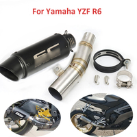 For R6 Motorcycle Exhaust System Slip on YZF R6 Exhaust Tip Baffle Pipe Middle Mid Connect Link Tube for Yamaha YZF R6 2006 2018