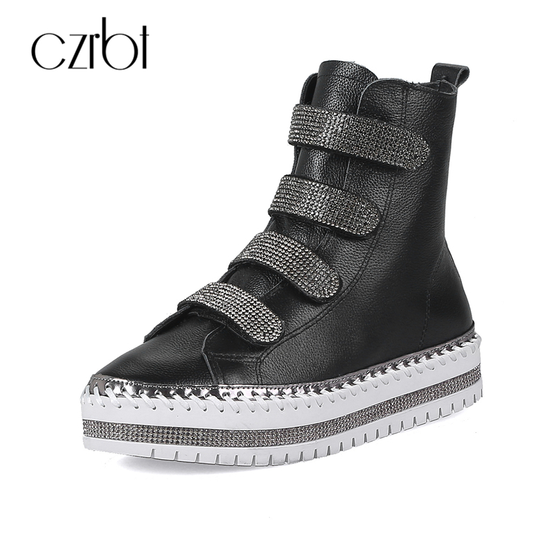 CZRBT Genuine Leather Casual Women Boots Cow Leather Crystal Hook & Loop Flat Heel Boots College Style Antumn Winter Ankle Boots czrbt portable solo natural genuine cow leather women height increasing 3cm heel 4cm boots ladies fashion ankle boots walking