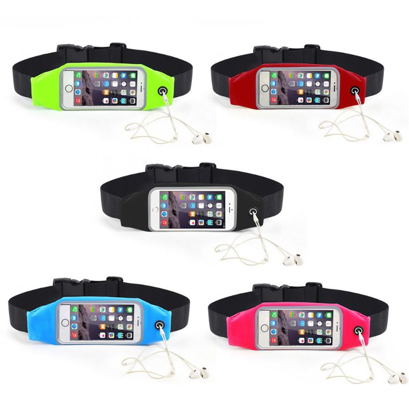 Womens Men's Lycra Sport Waist Bag Touch Screen Running Belt Bag 4 Phone Holder For Mobile Phone Fashion Unisex Fanny Packs