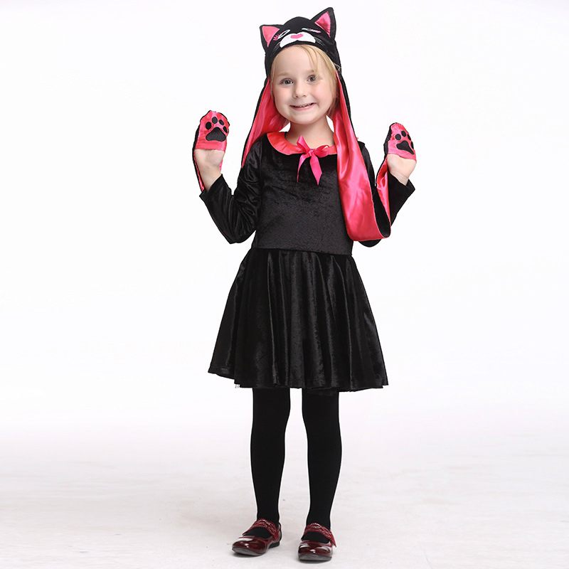 kids halloween carnival cat cosplay costumes with headwear girl pleuche dress party fancy ballet stage cat costume role play - Halloween Ballet Costumes