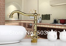 Великий продвижение продаж Золотой Кухня Поворотный бассейна Раковина на бортике одно отверстие Керамический одно отверстие кран MF-702
