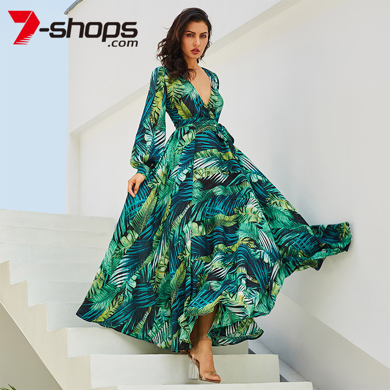 19 Long Sleeve Maxi Dress Women Deep V Neck Party Dress Lace-Up Sexy Ladies Boho Beach Long Dresses Plus Size Sundress 10
