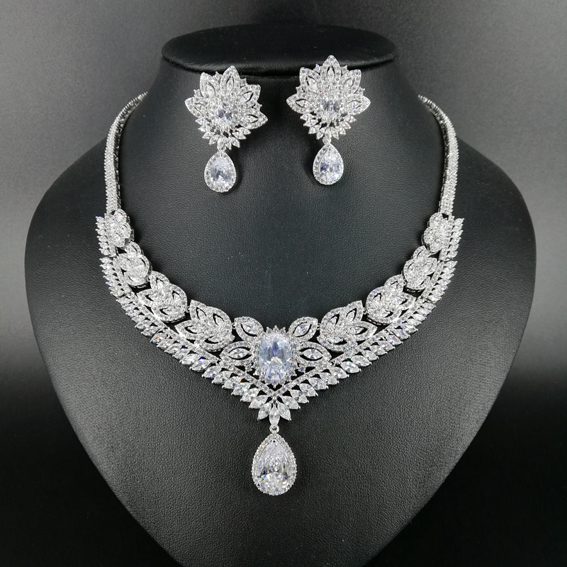 все цены на NEW FASHION Retro elegant crystal zircon necklace earring bracelet ring wedding bride banquet formal dress popular jewelry set