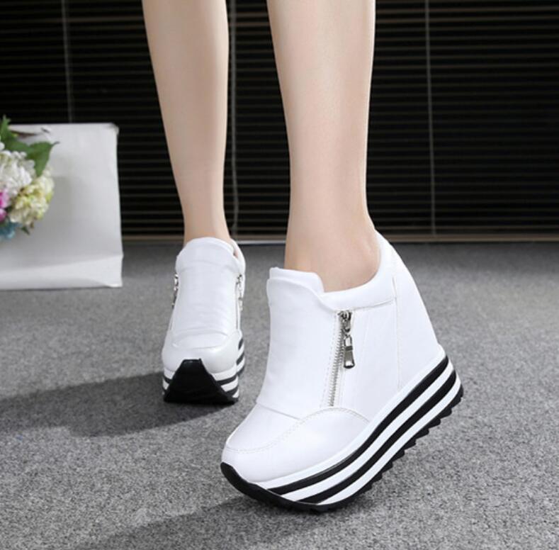2018 Dames Schoenen Sexy Wiggen Super Hoge Hakken 10CM Lace Up Wit Casual Schoenen Dames Party Schoenen Chaussure Femme Platform schoenen