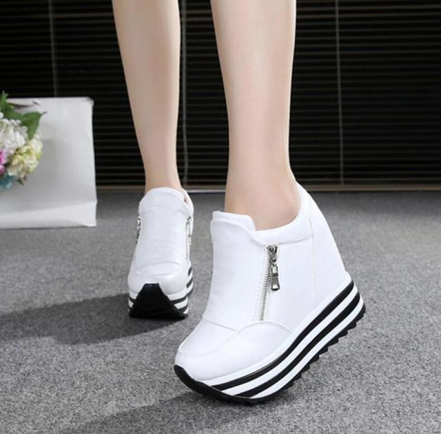 3be908ceaced 2019 Women Shoes Sexy Wedges Super High Heels 10CM Lace Up White Casual  Shoes Women s Party Shoes Chaussure Femme Platform shoes