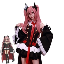 Anime Seraph of the End the Queen of Vampire Krul Tepes Cosplay Costume Black Fancy Dress Halloween Costumes for Women S-XL все цены