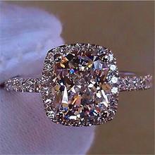Luksusowe kobiet dziewczyna duże kryształ CZ kamień pierścień ze srebra próby 925 biały niebieski fioletowy zielony ślub pierścienie obietnica pierścionek zaręczynowy tanie tanio JUNXIN Kobiety 925 Silver Cyrkonia Prong ustawianie Nastrój tracker Moda TRENDY Zespoły weselne Geometryczne Zaręczyny