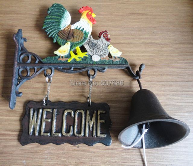 Awesome Cast Iron Rooster Outdoor Dinner Bell Farm Ranch Country Chicken Family  Welcome Bell Metal Hand Painted